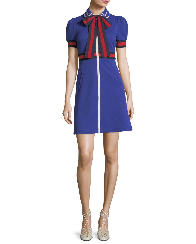 Jersey Gabardine Dress with Web & Bow