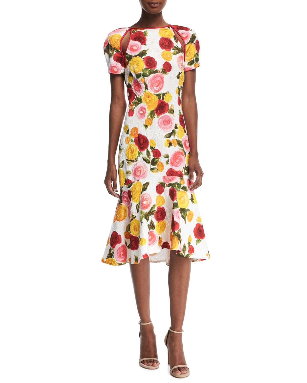 High-Neck Floral-Print Matelasse Midi Cocktail Dress