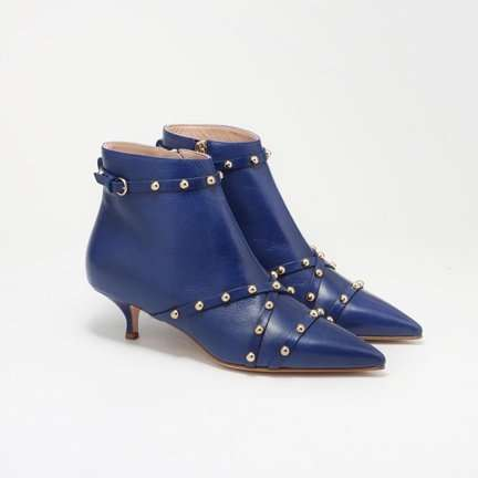 RED VALENTINO Persian Blue Studded Leather Shuffle Booties