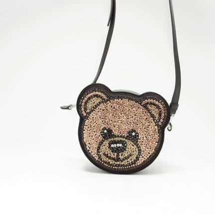 MOSCHINO Teddy Bear Crystals Round Crossbody Bag