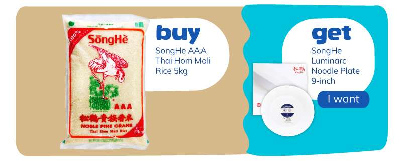 Buy SongHe AAA Thai Hom Mali Rice 10kg and get SongHe Luminarc Dinner Plate