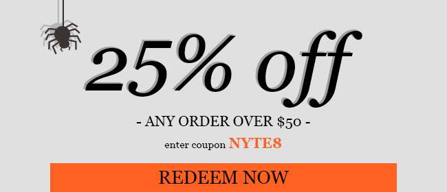 25% off any order over $50. Use code: NYTE8. Expires 10/27/18