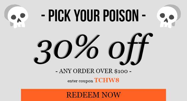 30% off any order over $150. Use code: TCHW8. Expires 10/27/18