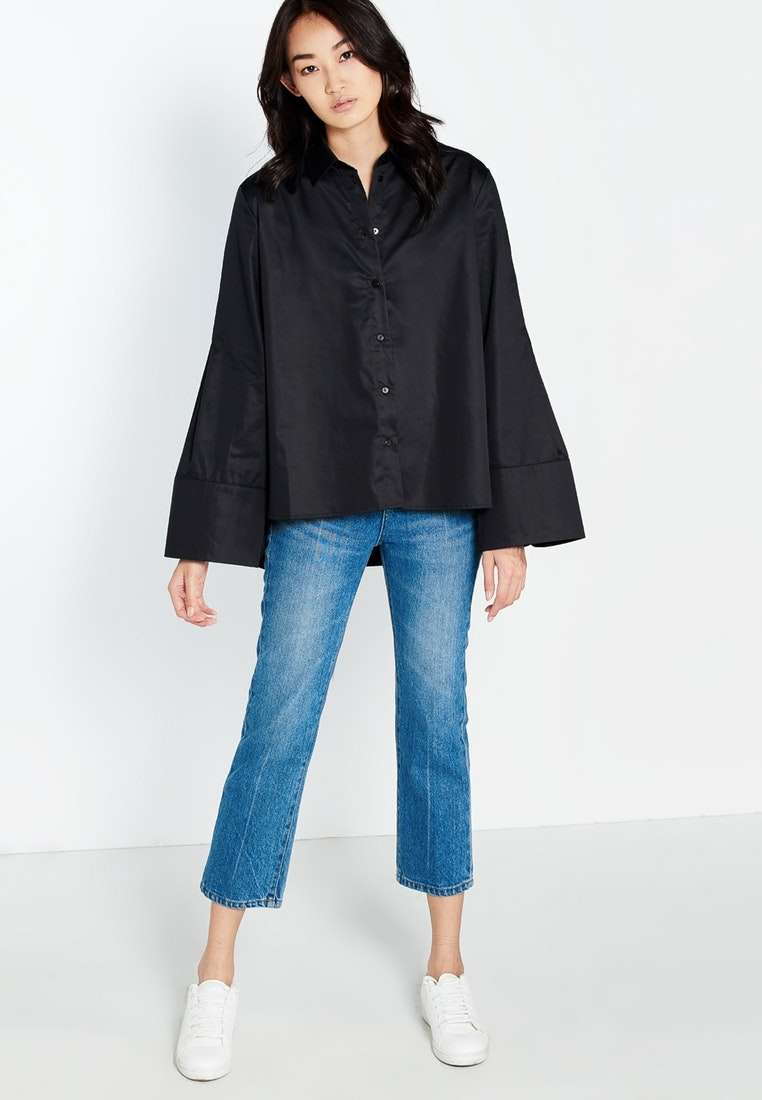 Evalina Wide Sleeve Shirt - Black