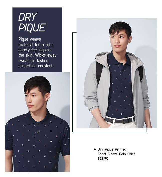 Shop Men's Dry Pique Printed Short Sleeve Polo Shirt at $29.90