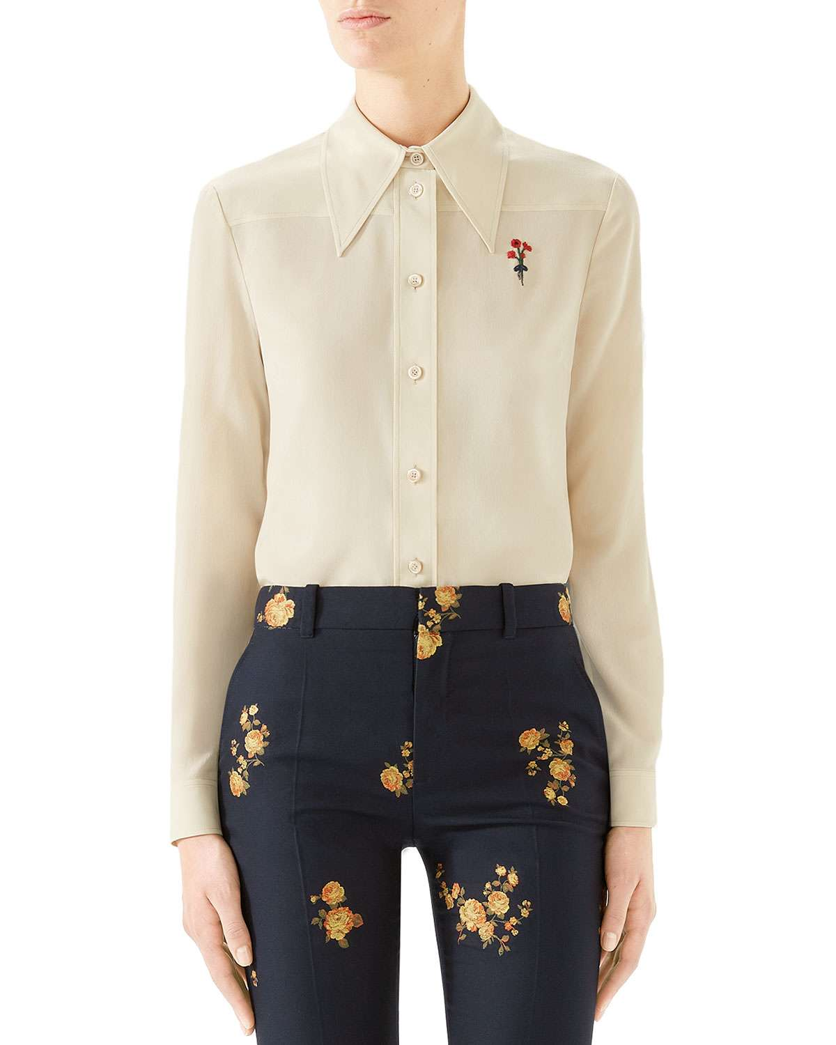 Flower-Embroidered Silk Button-Front Shirt