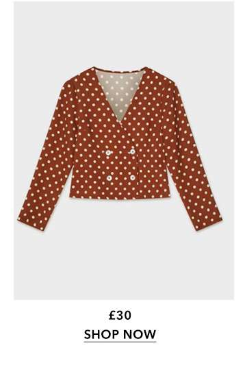 Chocolate Spotted Button Crop Top