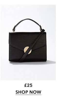 Black Faux Snake Design Circle Lock Cross Body Bag