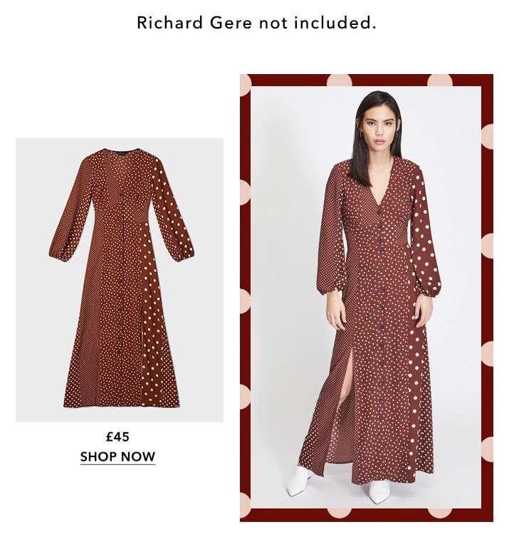 Chocolate Spot Midi Dress