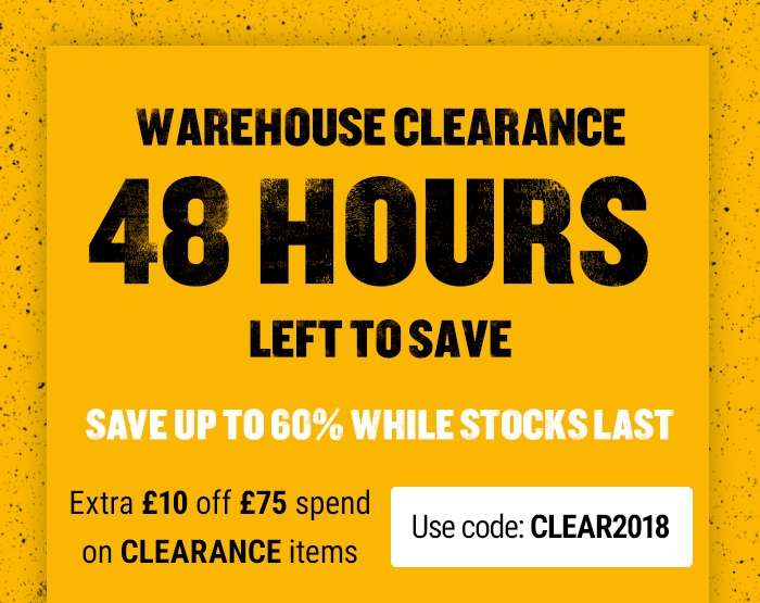 Warehouse Clearance Use Code: CLEAR2018