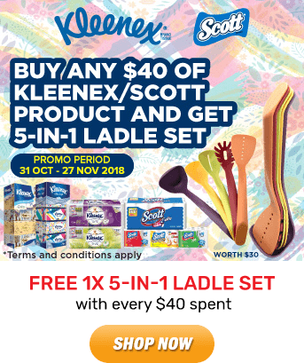 Kleenex: GET 5-IN-1 Ladle Set with every $40 spent. Grab it Now!