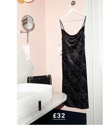 Ombre Glitter Velvet Stripe Midi Dress