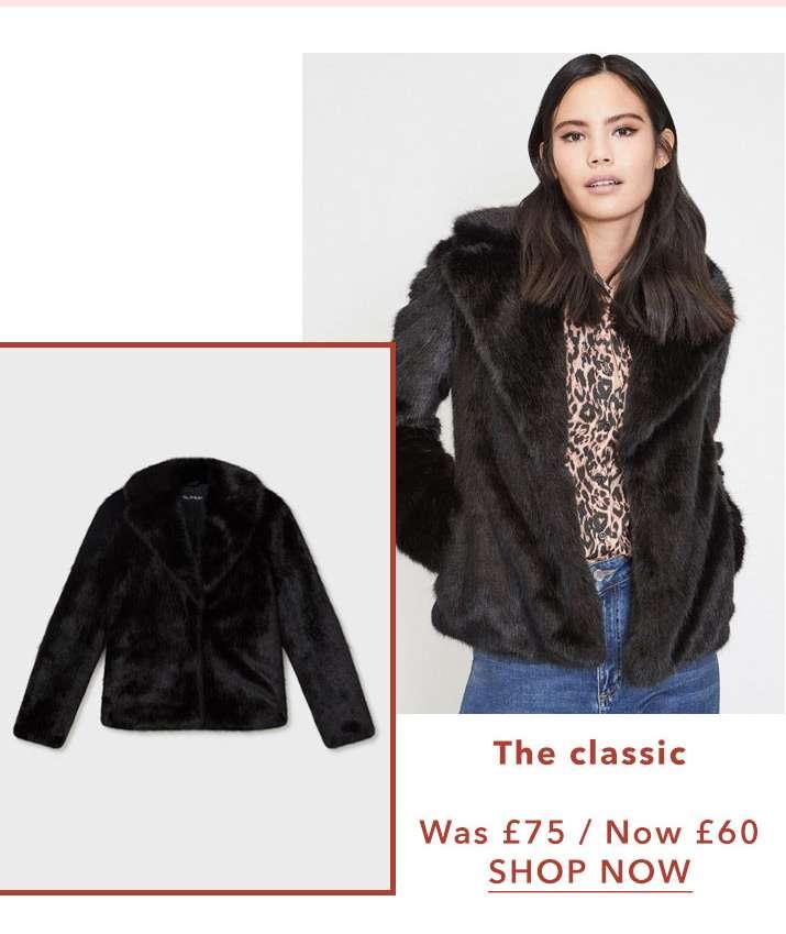 Black Short Plush Faux Fur Coat