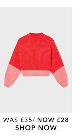 Coral and Red Colour Block Knitted Jumper