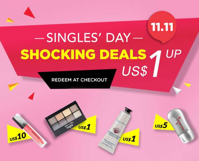 Singles' Day Offer: SHOCKING DEALS. Starting from US$1! *Min. spend $30 | Ends 11 Nov 2018