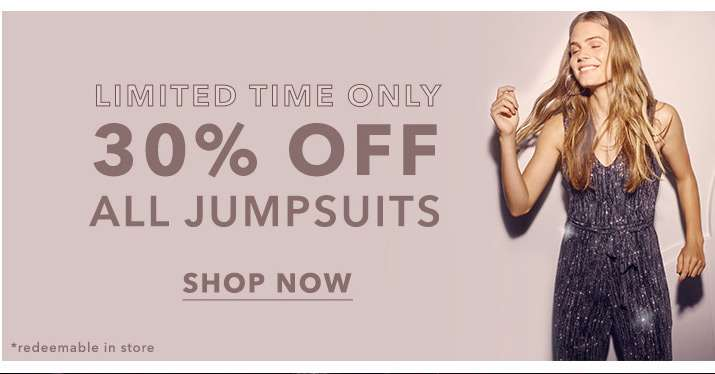 30% off all jumpsuits - Shop now