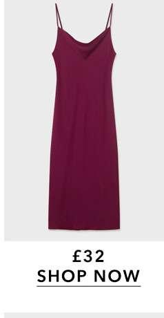 Burgundy Cowl Neck Midi Slip Dress