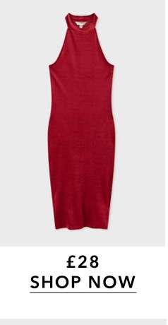 Rust Velvet Ribbed Midi Bodycon Dress