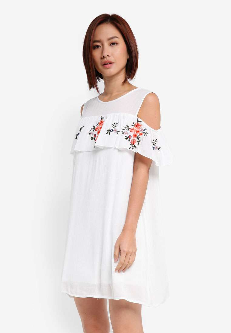 Embroidered Cold Shoulder Dress