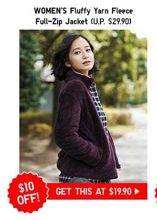 Women's Fluffy Yarn Fleece Full-Zip Jacket $19.90