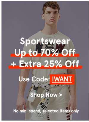 Sportswear Up to 70% Off + Extra 25% Off