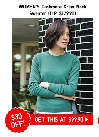 Women's Cashmere Crew Neck Sweater at $99.90