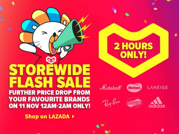 Enjoy storewide FLASH SALES from 12am to 2am on brands like Huggies, Laneige, Adidas, Marshall, and much more!