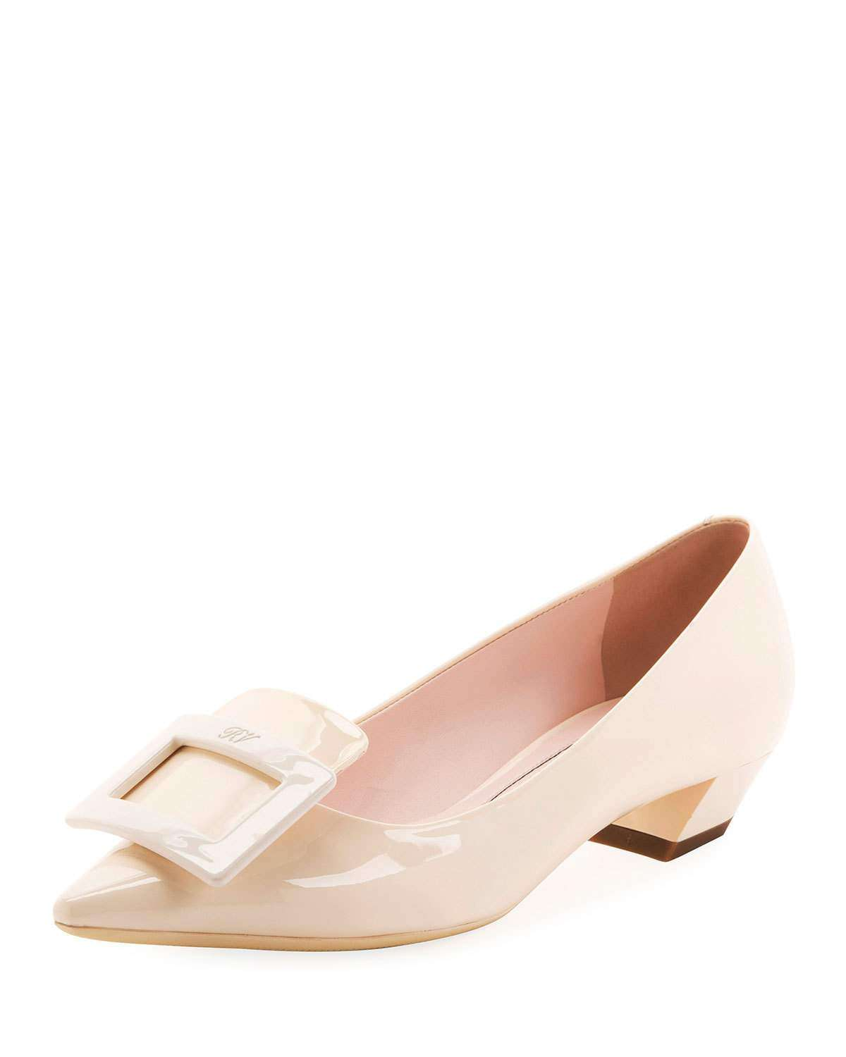 Gommette Patent Pointed Pumps, Nude