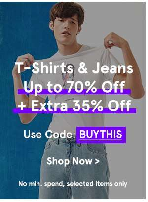 T-Shirts & Jeans Up to 70% Off + Extra 35% Off