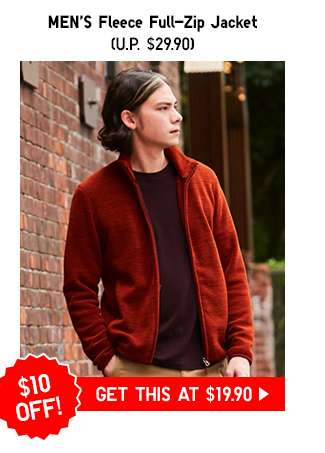 Men's Fleece Full Zip Jacket at $19.90