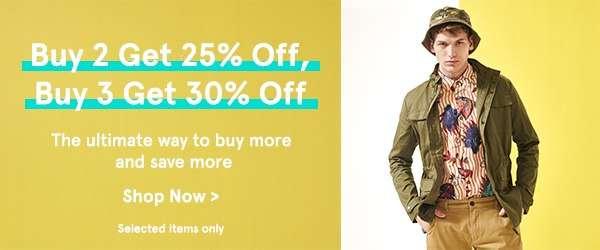 Buy 2 Get 25% Off, Buy 3 Get 30% Off