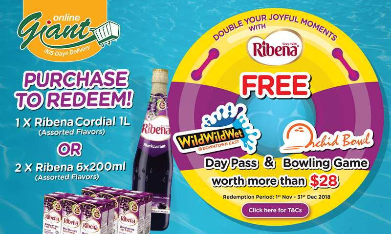 Ribena: Get FREE Wild Wild Wet Day Pass & Orchid Bowl Bowling Game worth more than $28! Click here for T&Cs.