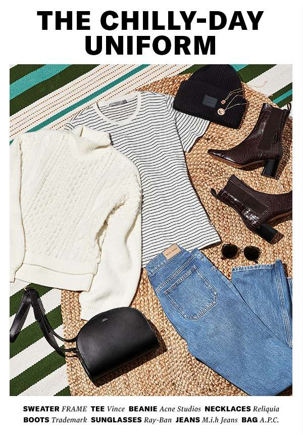 Oversized knits, straight-leg jeans, all-day booties (a.k.a. your cold-weather closet standbys).