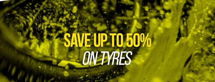 Save up to 50% on Tyres