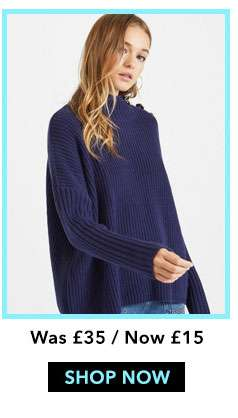 Navy Button Knitted Jumper