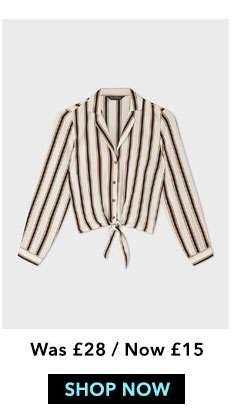Orange Striped Tie Front Shirt