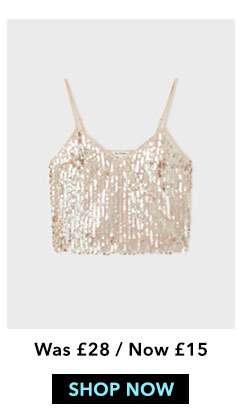 Pink Sequin Camisole Top