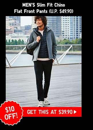 Shop Men's Slim Fit Chino Flat Front Pants at $39.90