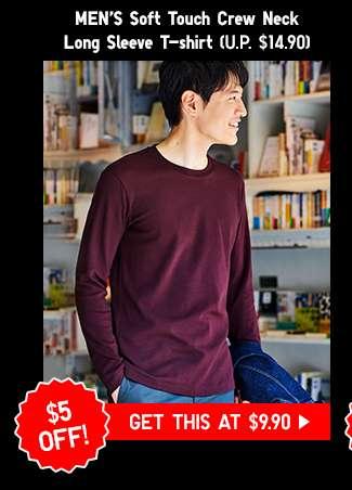 Shop Men's Soft Touch Crew Neck Long Sleeve T-shirt at $9.90