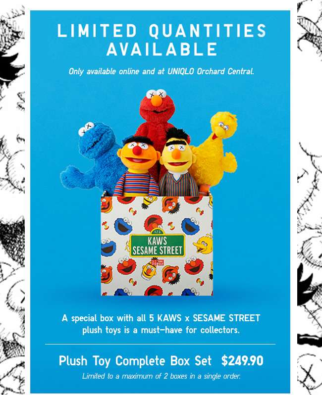Get the limited KAWS X SESAME STREET Complete Box Set at $249.90! While stocks last.
