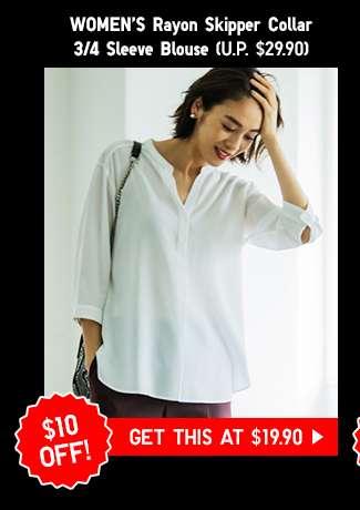 Shop Women's Rayon Skipper Collar Long Sleeve Blouse at $19.90