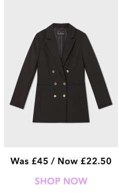 Black Longline Military Blazer