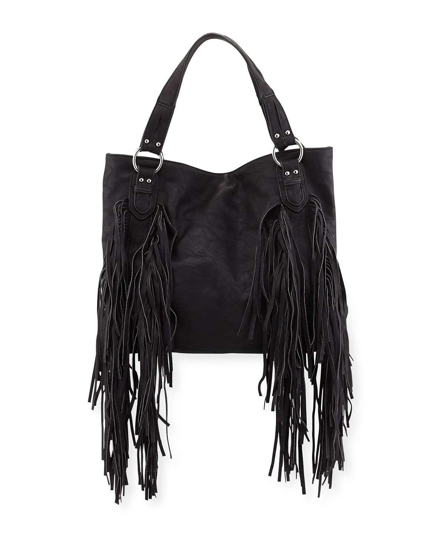 Castaway Faux-Leather Tote Bag, Black