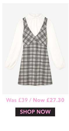 Grey 2 In 1 Brushed Dogtooth Pinny Dress
