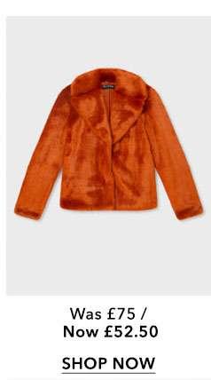Rust Faux Fur Coat