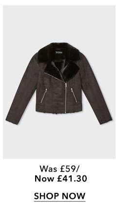 Black Shearling Biker Jacket