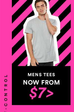 MENS TEES - NOW FROM $7 - CYBER SALE EXTENDED - ONE DAY ONLY - SHOP NOW