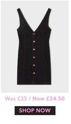 Black Denim V-Neck Button Through Pinafore Dress