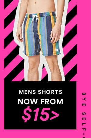 MENS SHORTS - NOW FROM $15 - CYBER SALE EXTENDED - ONE DAY ONLY - SHOP NOW