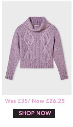 Lilac Cable Roll Neck Knitted Jumper